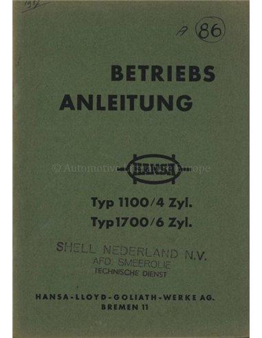 1937 HANSA 1100 / 1700 OWNERS MANUAL GERMAN