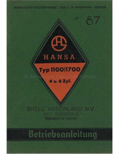 1938 HANSA 1100 / 1700 OWNERS MANUAL GERMAN
