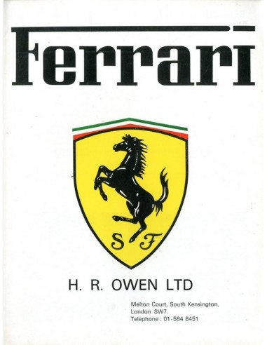 1975 FERRARI HR OWEN BROCHURE ENGELS