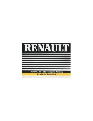 1988 RENAULT 19 INSTRUCTIEBOEKJE DUITS