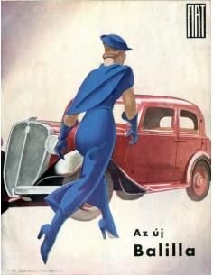 1934 FIAT BALILLA BROCHURE HONGAARS