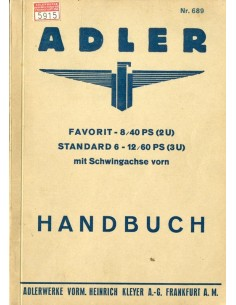 1933 ADLER FAVORIT STANDARD INSTRUCTIEBOEKJE DUITS