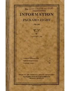 1925 PACKARD EIGHT INSTRUCTIEBOEKJE ENGELS