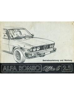 1979 ALFA ROMEO 6 2.5 INSTRUCTIEBOEKJE DUITS