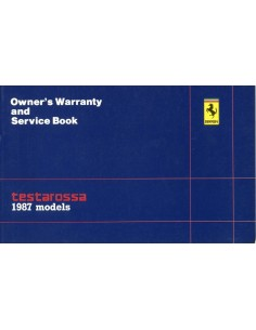 1987 FERRARI TESTAROSSA WARRANTY CARD & OWNER'S SERVICE BOOK US 455/86