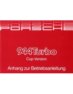 1987 PORSCHE TURBO CUP-VERSION SUPPLEMENT OWNER'S MANUAL GERMAN