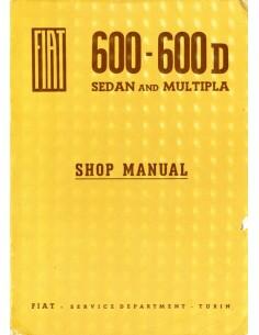 1963 FIAT 600 / 600D SEDAN & MULTIPLA WERKPLAATSHANDBOEK ENGELS