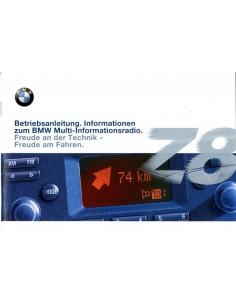 2000 BMW Z8 MULTI INFORMATIERADIO INSTRUCTIEBOEKJE DUITS