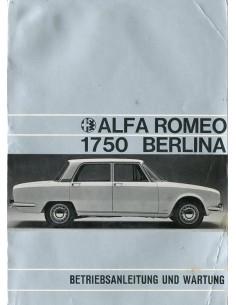 1968 ALFA ROMEO 1750 BERLINA INSTRUCTIEBOEKJE DUITS