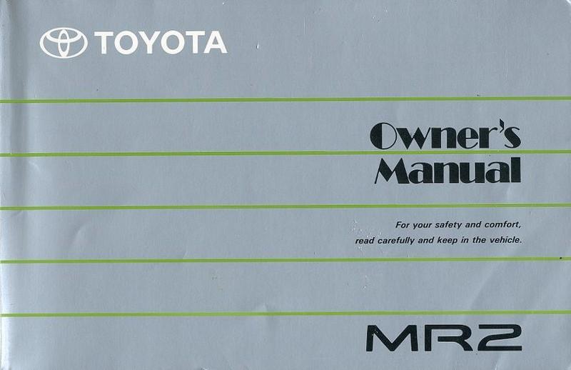 1989 toyota mr2 owner s manual english rh autolit eu toyota mr2 service manual download toyota mr2 service manual download