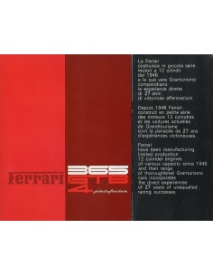 1972 FERRARI 365 GTB4 PININFARINA BROCHURE 73/72
