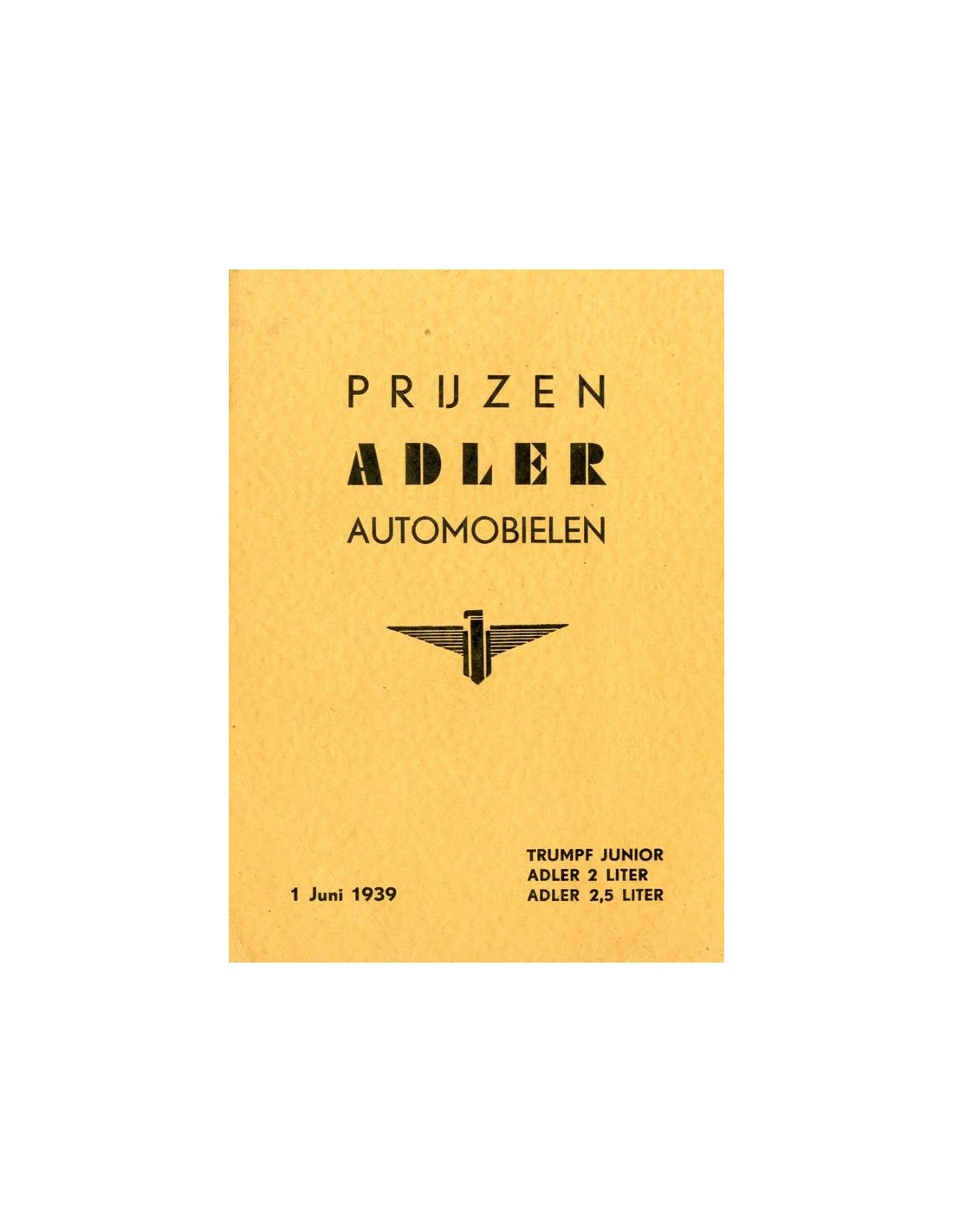 1939 adler 2 5 liter brochure german. Black Bedroom Furniture Sets. Home Design Ideas