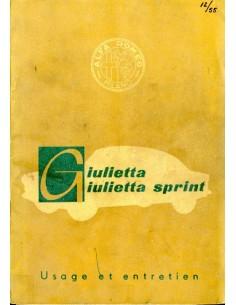 1955 ALFA ROMEO GIULIETTA & SPRINT INSTRUCTIEBOEKJE FRANS