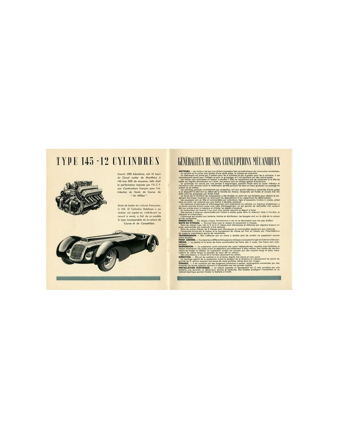 Bmw Z3 Brochure: 1938 DELAHAYE RANGE BROCHURE FRENCH