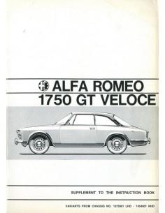 1970 ALFA ROMEO 1750 GT VELOCE BIJLAGE INSTRUCTIEBOEKJE ENGELS