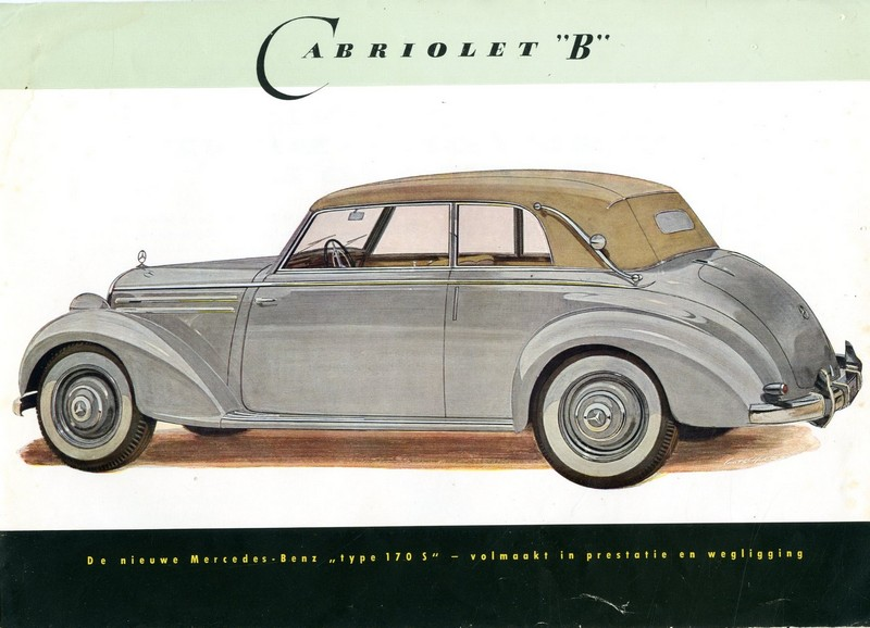 1951 mercedes benz type 170 s brochure nederlands for Mercedes benz types