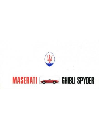 1969 MASERATI GHIBLI SPYDER BROCHURE 'SCHAARS'