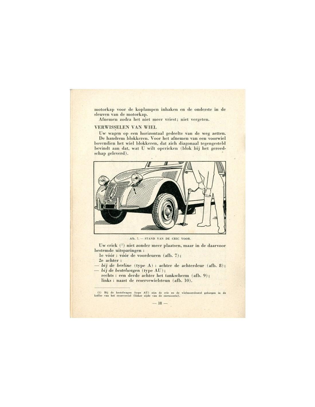 1954 Citroen 2cv Owner S Manual Dutch