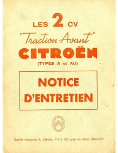 1953 CITROEN 2CV INSTRUCTIEBOEKJE FRANS