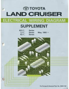 1993 TOYOTA LANDCRUISER ELECTRISCHE SCHEMA'S BIJLAGE WERKPLAATSHANDBOEK ENGELS