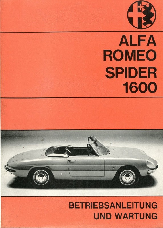 1968 ALFA ROMEO SPIDER 1600 OWNERS MANUAL GERMAN
