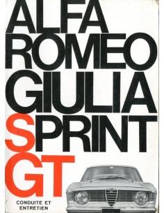 1966 ALFA ROMEO GIULIA SPRINT GT INSTRUCTIEBOEKJE FRANS