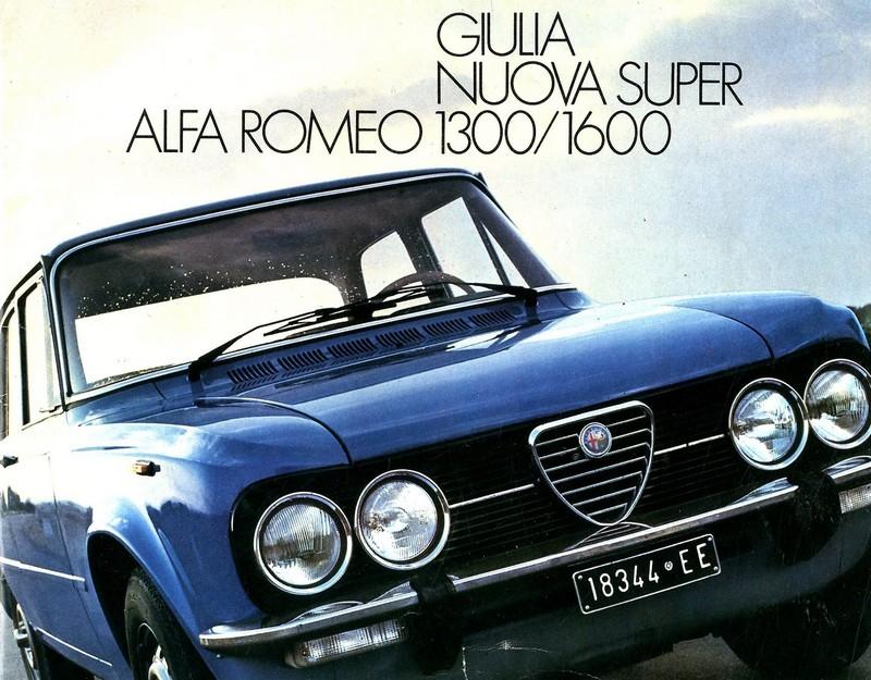 1975 alfa romeo giulia nuova super 1300 1600 brochure dutch. Black Bedroom Furniture Sets. Home Design Ideas