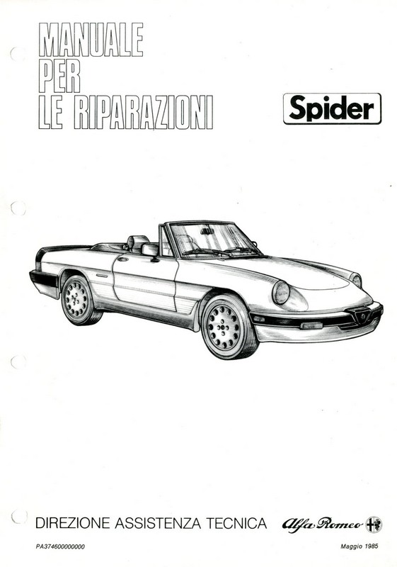 1986 ALFA ROMEO SPIDER QV WORKSHOP MANUAL ITALIAN