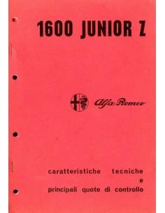 1973 ALFA ROMEO 1600 JUNIOR Z TECHNISCHE VOORSCHRIFTEN & INSPECTIE SPECIFICATIES ITALIAANS