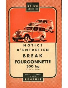1954 RENAULT BREAK FORGONNETTE 300KG INSTRUCTIEBOEKJE FRANS