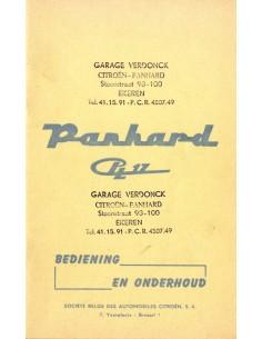 1961 PANHARD PL 17 INSTRUCTIEBOEKJE NEDERLANDS