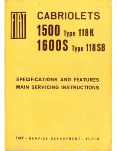 1966 FIAT 1500 / 1600 S CABRIOLET WERKPLAATSHANDBOEK ENGELS