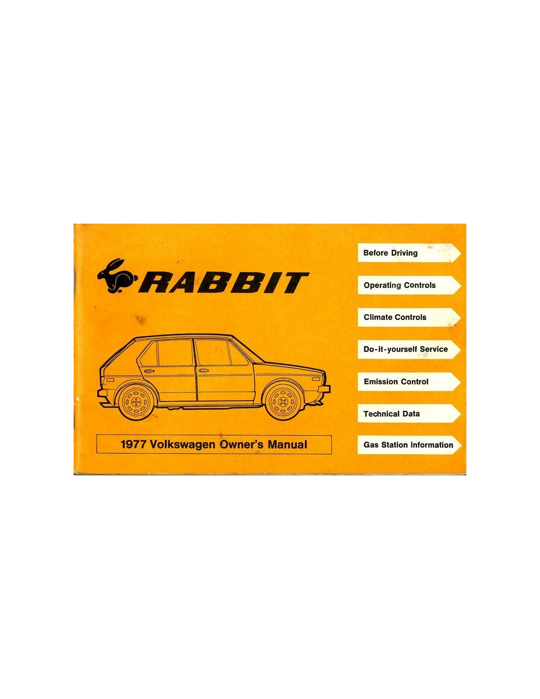 1977 Volkswagen Rabit Owners Manual English