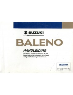1996 SUZUKI BALENO INSTRUCTIEBOEKJE NEDERLANDS