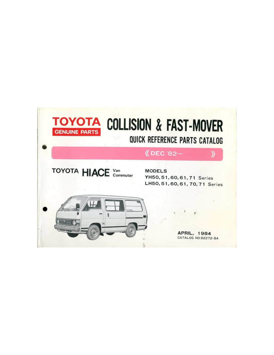 Toyota New Parts Online: 1984 TOYOTA HIACE SHORT SPARE PARTS CATALOG ENGLISH