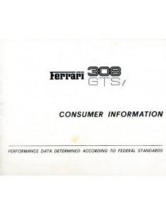 1980 FERRARI 308 GTSi CONSUMER INFORMATION INSTRUCTIEBOEK 185/80
