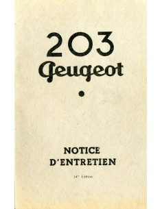 1956 PEUGEOT 203 INSTRUCTIEBOEKJE FRANS