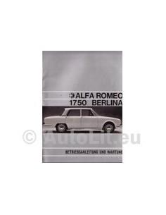 1970 ALFA ROMEO 1750 BERLINA BETRIEBSANLEITUNG DEUTSCH