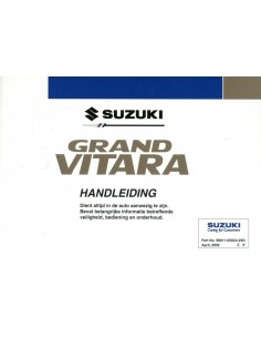 2002 SUZUKI GRAND VITARA INSTRUCTIEBOEKJE NEDERLANDS