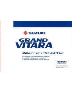 2005 SUZUKI GRAND VITARA INSTRUCTIEBOEKJE FRANS