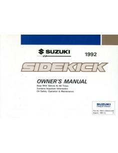 1992 SUZUKI SIDEKICK INSTRUCTIEBOEKJE ENGELS