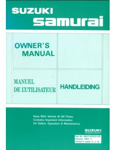 1993 SUZUKI SAMURAI INSTRUCTIEBOEKJE NEDERLANDS ENGELS FRANS