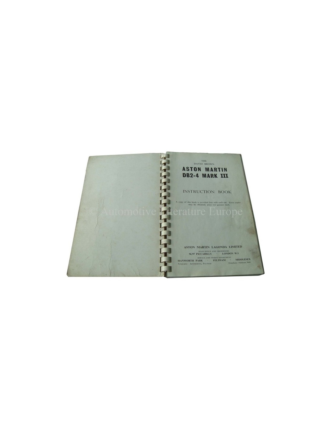 1958 Aston Martin Db2 4 Mk Iii Owner S Manual English border=