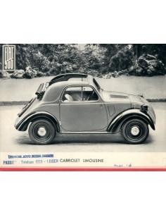 1936 FIAT 500 CABRIOLET LEAFLET NEDERLANDS