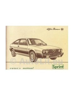 1983 ALFA ROMEO SPRINT OWNER'S MANUAL ENGLISH