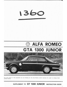 1968 ALFA ROMEO GTA 1300 JUNIOR BIJLAGE INSTRUCTIEBOEK ENGELS