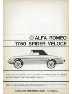1968 ALFA ROMEO SPIDER 1750 VELOCE BIJLAGE INSTRUCTIEBOEKJE DUITS
