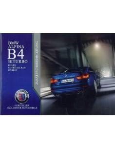 2014 BMW ALPINA B4 BITURBO BIJLAGE INSTRUCTIEBOEKJE DUITS