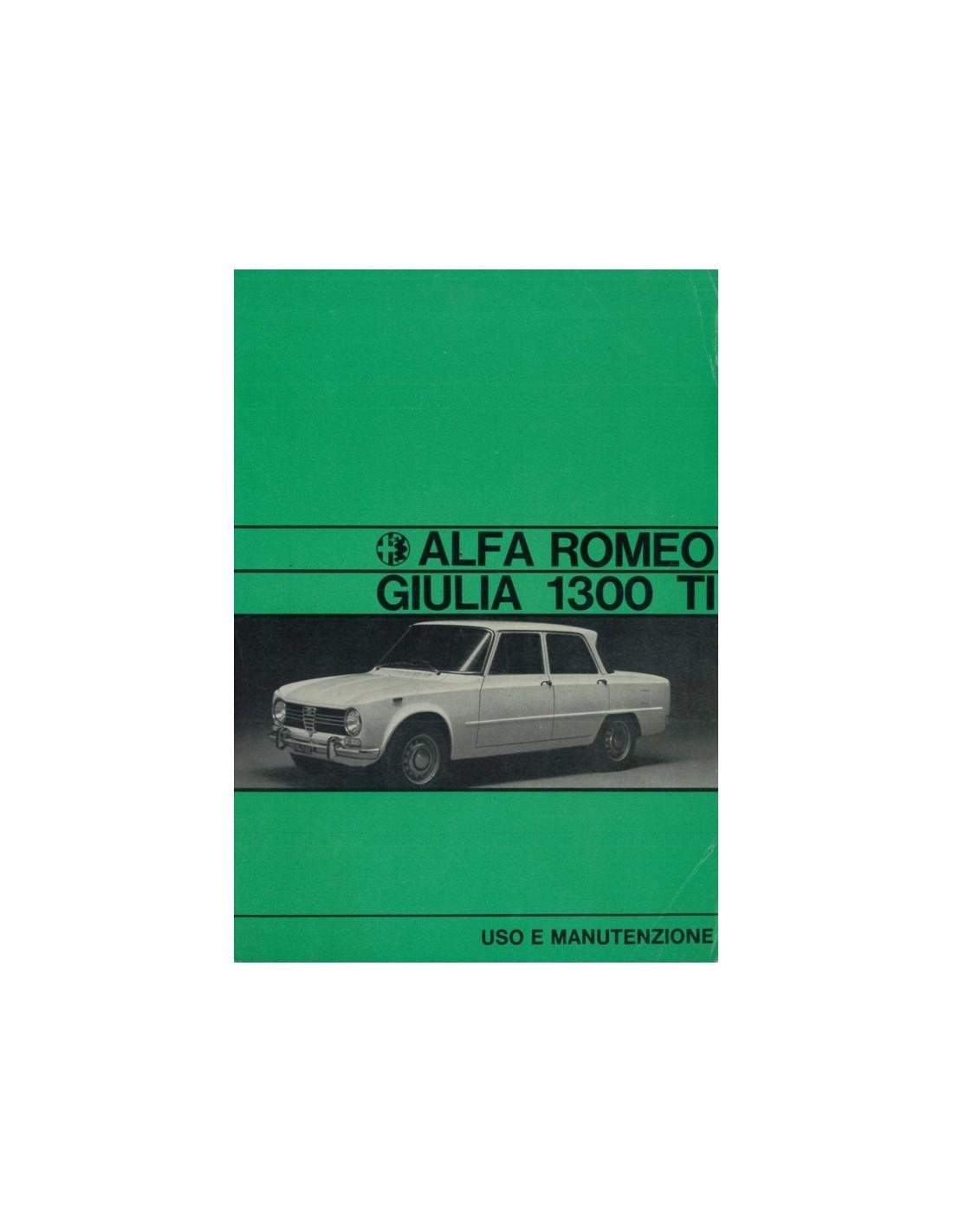 1970 ALFA ROMEO GIULIA 1300 TI OWNER'S MANUAL ITALIAN