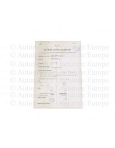 1955 ALFA ROMEO GIULIETTA SPRINT F.I.A. HOMOLOGATION DATENBLATT ITALIENISCH
